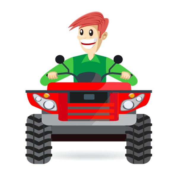 Illustration of a Man on ATV- Get Fast Cash for Your ATV